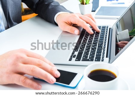 Woman. Female hands on keyboard - stock photo