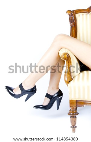 woman female legs in lingerie and black high heels - stock photo