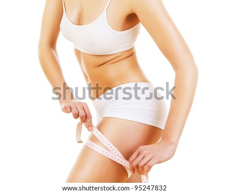 woman figure with white tapemeasure on white background