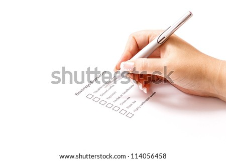 Woman filling beverage question form - stock photo