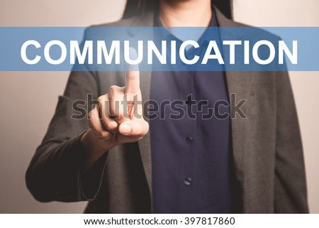 woman finger pointing at the camera wit communication word - stock photo