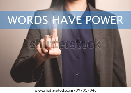 woman finger pointing at the camera with words have power word - stock photo