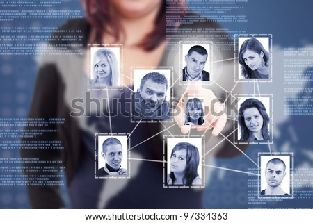 woman finger pressing a Social Network picture