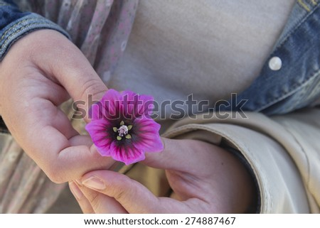 Woman finger's holding a pink and purple flower
