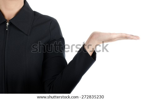 Woman finger showing empty hand on white background  - stock photo