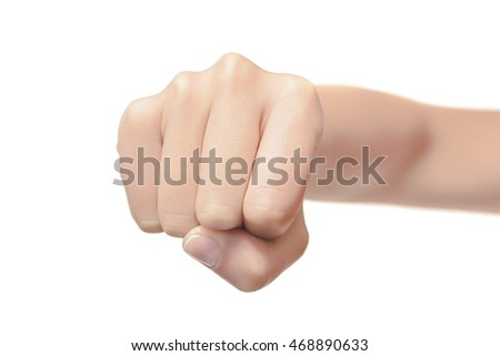 Woman fist isolated on a white background. Front view.