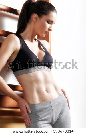 Woman Fitness Gymnastic Exercise, Sport Young Girl Fit Dance, Modern Aerobic Dancer,  - stock photo