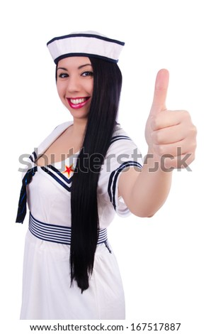 Woman flight attendant with thumb up gesture