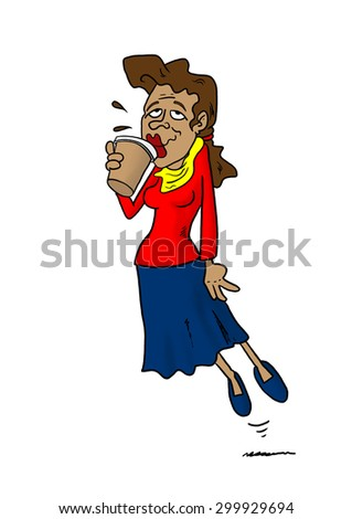 Woman floating while drinking coffee - stock photo