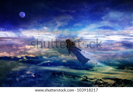 Woman flying over dreamy landscape in a fantasy scene based on a dream combining photographic elements with digital drawing.