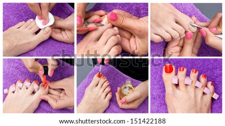 woman foot cleaning procedure and pedicure collection - stock photo