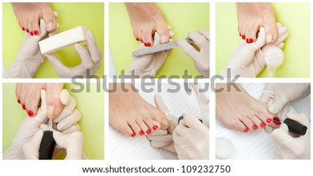 woman foot getting pedicure treatment nail repairing in salon - stock photo