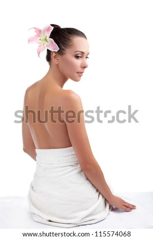 Woman from behind, naked body. - stock photo