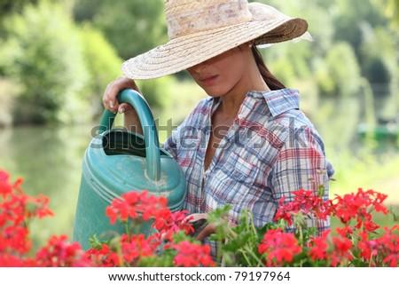 woman gardening - stock photo