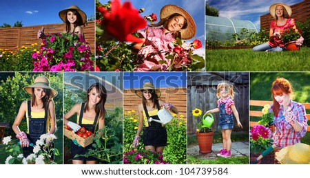 Woman gardening series - stock photo