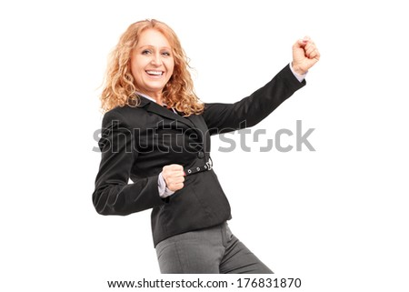Woman gesturing happiness isolated on white background - stock photo