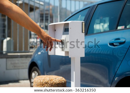 Woman gets access using fingerprint scanner - stock photo