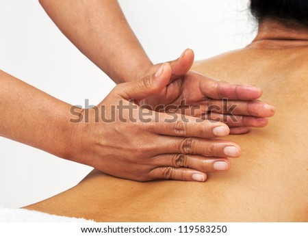 woman getting a massage on her back