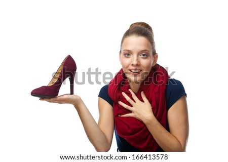 Woman getting shoes as gift or happy of her shopping. - stock photo