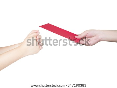 Woman give red envelope to someone for Chinese New Year on isolated / white background