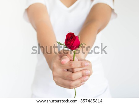 Woman giving a red rose with white background - stock photo