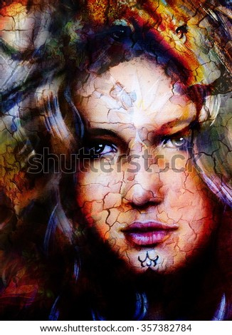 woman goddess holding a sourceful of a white light and  lion head. abstract background with spots