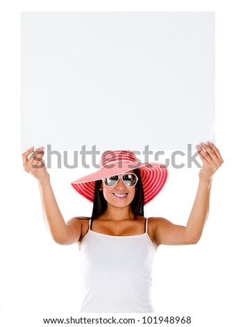 Woman going on holidays and holding a banner - isolated - stock photo
