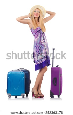 Woman going to summer vacation isolated on white - stock photo