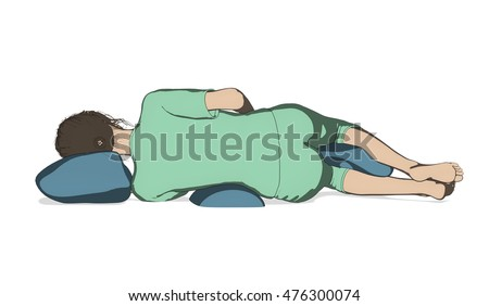 Woman good sleep posture illustration isolated