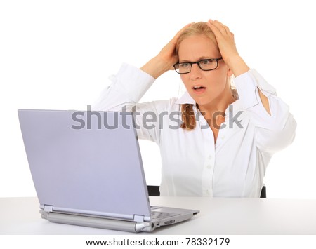 Woman got a problem with her notebook computer. All on white background.