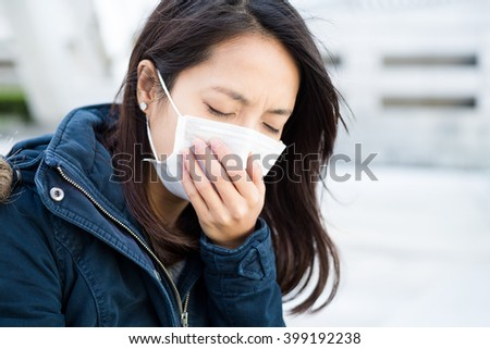 Woman got sick - stock photo
