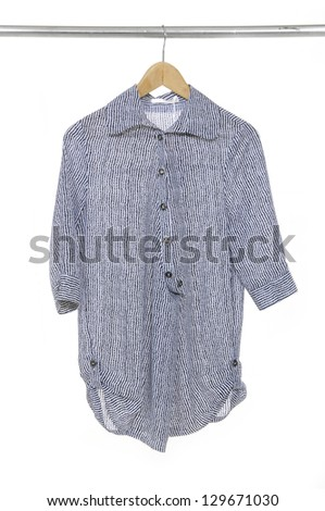 Woman  gray clothes on a hanger - stock photo