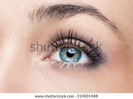 Woman green eye with extremely long eyelashes  - stock photo