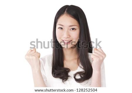 Woman guts pose - stock photo