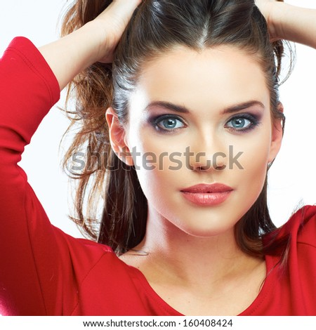 Woman hair beauty portrait. Beautiful girl isolated on white background. Red dress. Female young model. Close up. - stock photo