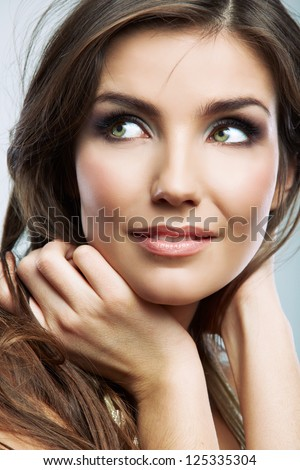 Woman hair style fashion portrait. isolated. close up female face. Beauty model posing. - stock photo