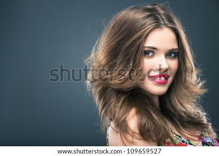 Woman hair style fashion portrait . isolated. make up female face.