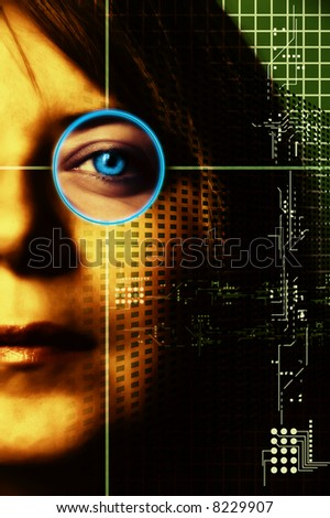 woman half face with technology symbols grid
