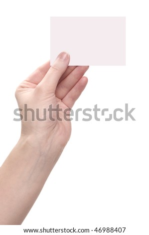Woman hand and blank isolated on white background
