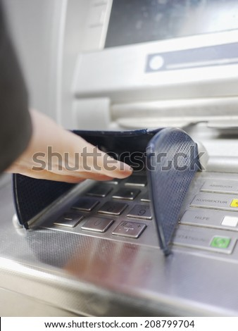 woman hand atm machine - stock photo