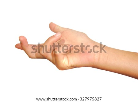 Woman hand beckoning or calling on a white isolated background