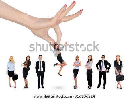 Woman hand choosing business woman - stock photo