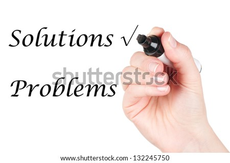 Woman hand choosing solutions instead of problems over a white background - stock photo
