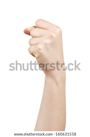 Woman Hand clenched a fist isolated on White Background
