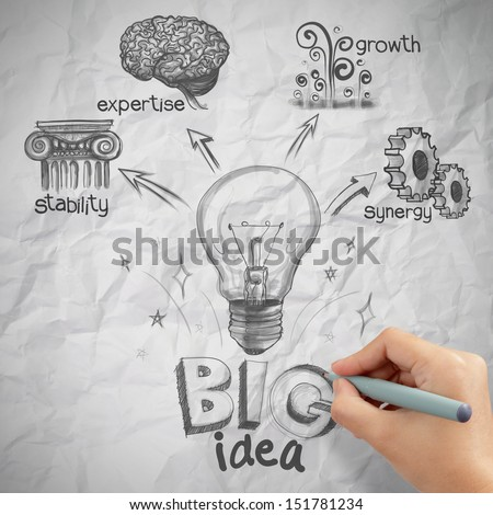 woman hand draw the big idea diagram on crumpled paper background as concept - stock photo