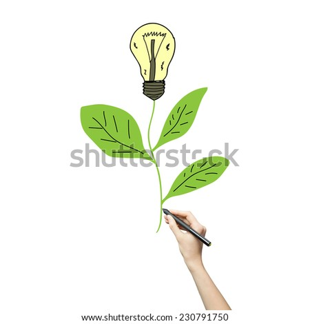 woman hand drawing a plant with a light bulb idea isolated on white - stock photo