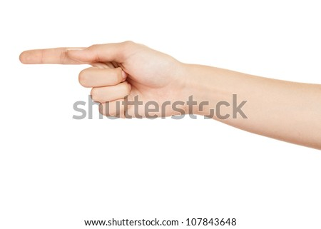 Woman hand. Gesture direction on the left