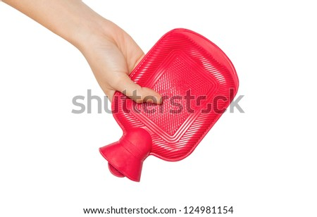 Woman hand give a hot water bottle on  white background - stock photo