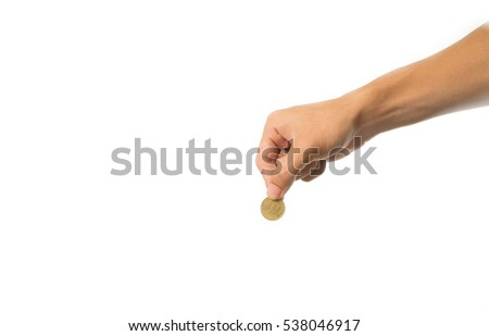 woman hand giving golden coin to hand of man