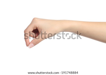 Woman hand hanging something blank isolated on a white background - stock photo